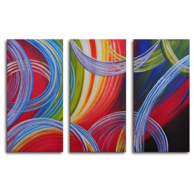 "My Art Outlet Hand Painted ""Yarn Gone Wild"" 3-Piece Canvas Art Set"