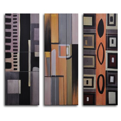 "My Art Outlet Hand Painted ""Suburban Barrage"" 3-Piece Canvas Art Set"