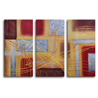"My Art Outlet Hand Painted ""Conducting on Metal"" 3-Piece Canvas Art Set"