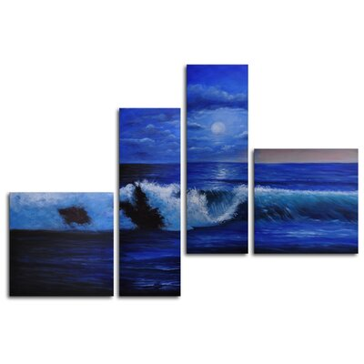 "My Art Outlet Hand Painted ""Breaking Waves"" 4-Piece Canvas Art Set"