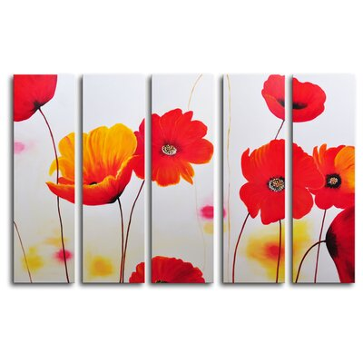 "My Art Outlet Hand Painted ""Orange Among Red"" 5-Piece Canvas Art Set"