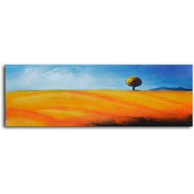 My Art Outlet Lone Tree on Pampas Original Painting on Canvas