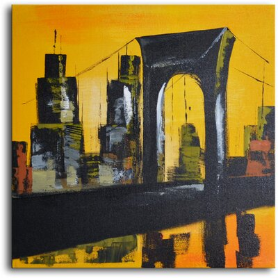 "My Art Outlet Hand Painted Modern Oil Painting ""Bridge and Towers"" Canvas Wall Art"