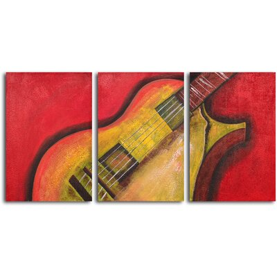 "My Art Outlet Hand Painted ""Rouged six string guitar"" 3 Piece Oil Canvas Art Set"