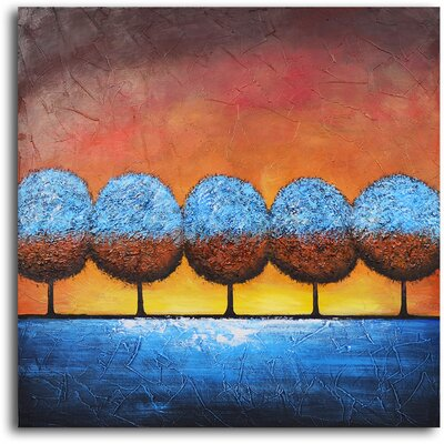"My Art Outlet Hand Painted ""Azure Frosted Trees"" Oil Canvas Art"