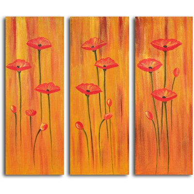 "My Art Outlet Hand Painted ""Poppies on Amber"" 3 Piece Oil Canvas Art Set"