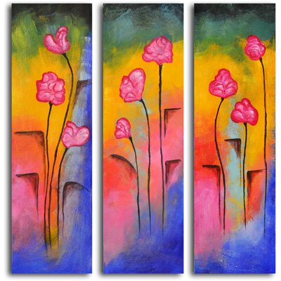 "My Art Outlet Hand Painted ""Out of The Cracks"" 3 Piece Oil Canvas Art Set"