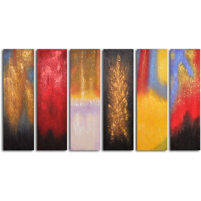My Art Outlet Shades of Fire 6 Piece Original Painting on Canvas Set