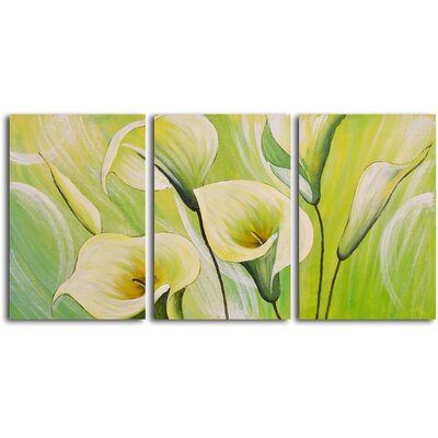 "My Art Outlet Hand Painted ""Whispering Lilies"" 3 Piece Oil Canvas Art Set"