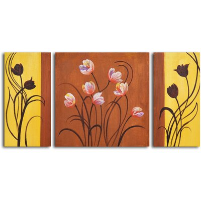 "My Art Outlet Hand Painted ""Deco Tulips"" 3 Piece Oil Canvas Art Set"