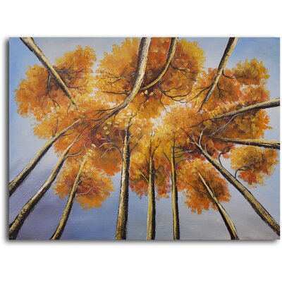 "My Art Outlet Hand Painted ""Golden Treetop"" Oil Canvas Art"