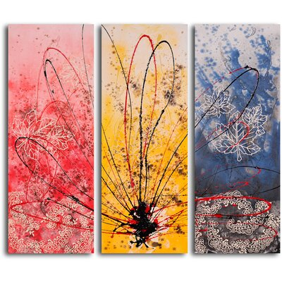 My Art Outlet 'Crazed across Color Triptych' 3 Piece Original Painting on Canvas Set