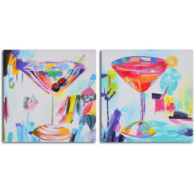 My Art Outlet 2 Piece ''Confetti Cocktails'' Hand Painted Canvas Set