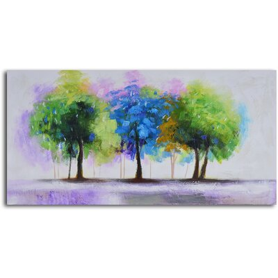 My Art Outlet ''Blue and Green Copse'' Hand Painted Canvas Art