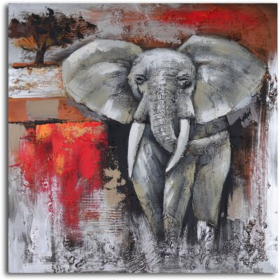 My Art Outlet ''Elephant Encounter'' Hand Painted Canvas Art