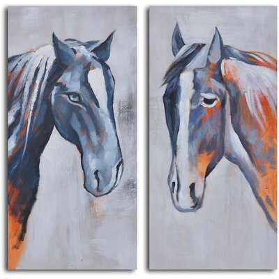 My Art Outlet 2 Piece ''Colt and Mare'' Hand Painted Canvas Set