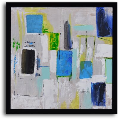 My Art Outlet ''City Windows'' Hand Painted Abstract Framed Art