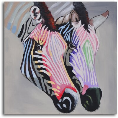 ''Pastel Zebra Duo'' Hand Painted Canvas Art