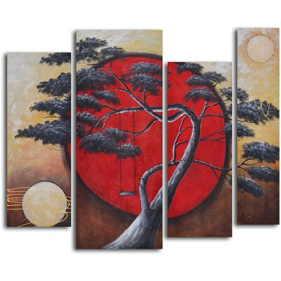 4 Piece ''Crimson Sun, Midnight Moon'' Hand Painted Oil Painting Set