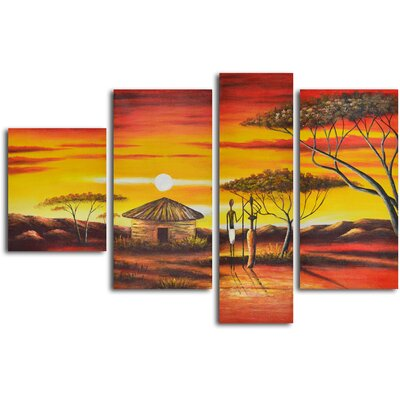 4 Piece ''African Homestead Sunset'' Hand Painted Oil Painting Set