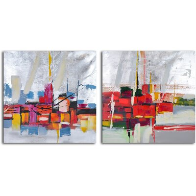 My Art Outlet 2 Piece ''Reflections by Wharf Abstract'' Hand Painted Canvas Set