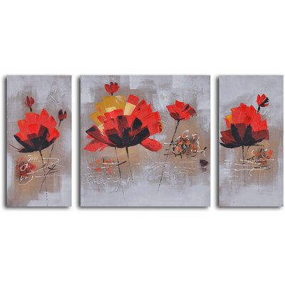 3 Piece ''Dancing Red Lilies'' Hand Painted Canvas Set