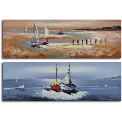 'Duo of Sailboat Seascapes' 2 Piece Original Painting on Canvas Set