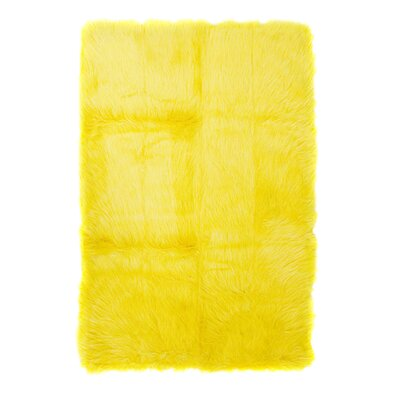 Home Decor Inc. Flokati Yellow Rug
