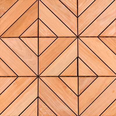 "Flex Deck Brazilian Hardwood 11.6"" x 11.6"" Interlocking Deck Tiles in Dubai Ipe Champagne"