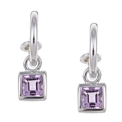 Evalue Jewelry Sterling Essentials Sterling Silver Amethyst Charm Semi-hoop Earrings