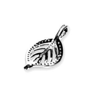 Ayana Jewelry Chandi Court Sterling Silver Leaf Shaped Pendant with Cubic Zirconium