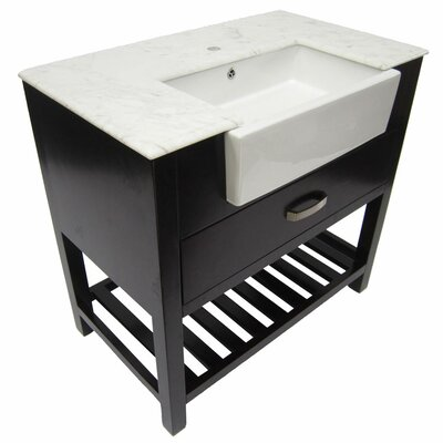 "Alfi Brand 35.25"" Single Farmhouse Sink Bathroom Vanity Set with Drawer"