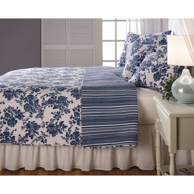 Blue Floral Quilted Bedding Set