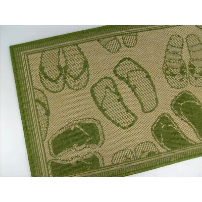 American Mills Flip Flops Honey/Emerald Novelty Rug