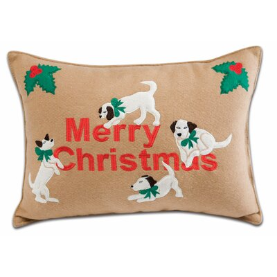 Holiday Playful Dogs Applique Pillow