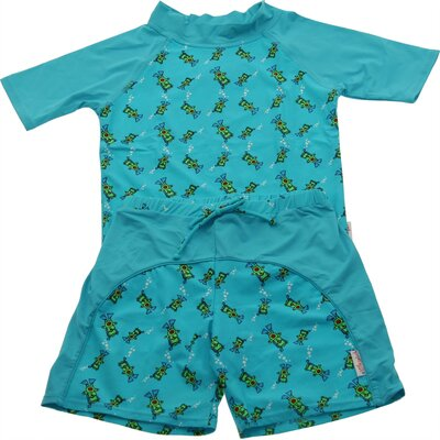 A Little Splash Two Piece Nylon / Spandex Rush Guard in Scuba Bear Print
