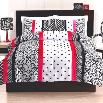 Cosmo Girl Black and Pink Dot Stripe Comforter Set