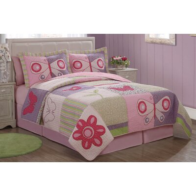 My World Pink Butterfly Flower Quilt Set
