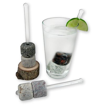Sea Stones Sticks and Stones Swizzles with Wooden Base