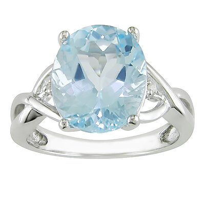 Sterling Silver Round Cut Diamond and Topaz Ring