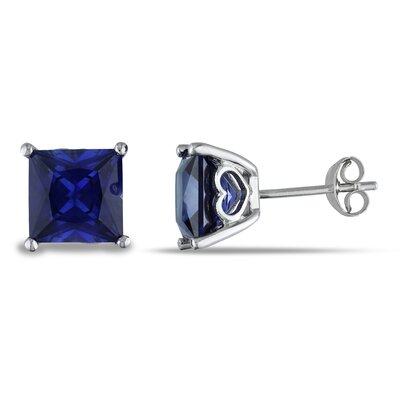 Square Cut Sapphire Stud Earrings