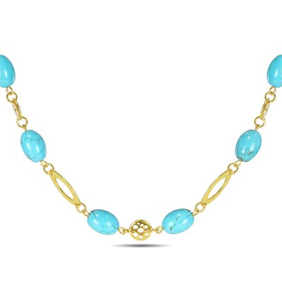 Bead Necklace with Gold Tone Accents in Turquoise