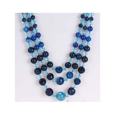 Amour Triple-Strand Necklace in Dark Blue and Ocean Blue