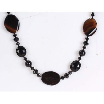 Mixed Dark Brown and Black Agate and Crystal Beads Endless Necklace