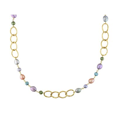 Miadora Goldtone Multicolored Cultured Pearl Oval Link Necklace