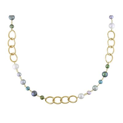 Miadora Multi-colored Cultured Pearl Oval Angle Link Necklace