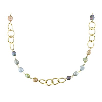 Miadora Multicolored Cultured Pearl Oval Link Necklace