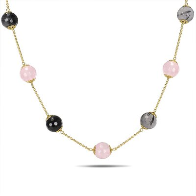 Necklace with Pink Plated Silver Chain