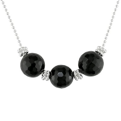 Necklace with Faceted Round Onyx and 2-Row Hex Silver Beads