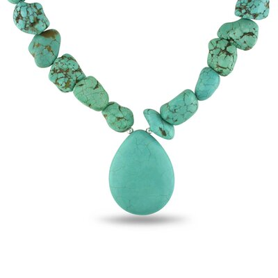 Amour Flat Pearshape Turquoise Bead Necklace with Silver Extender and Lobster Clasp